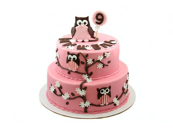 Торт с Совами розовый