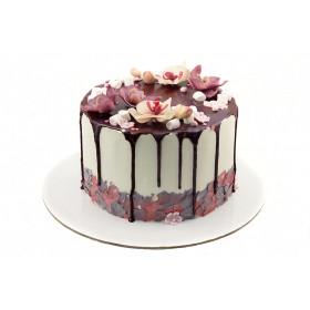 Торт для девушки с цветами орхидеи