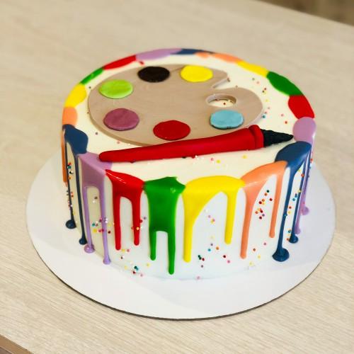 Торт с красками