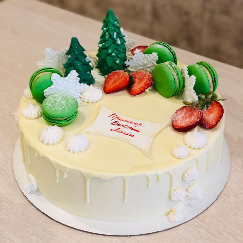 Торт на Новый год с макаронс