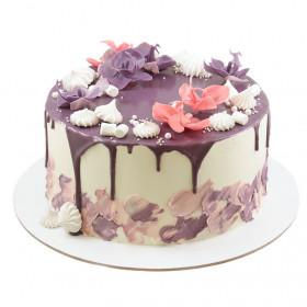 Торт с орхидеями и безе