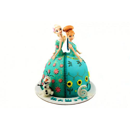 Торт Анна и Эльза в виде кукол