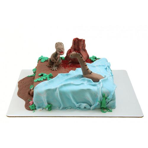 Торт с динозаврами из мастики