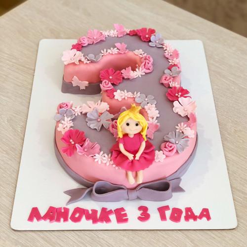 Торт Цифра 3 для девочки