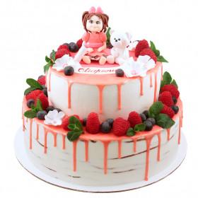 Торт с куклой и мишкой