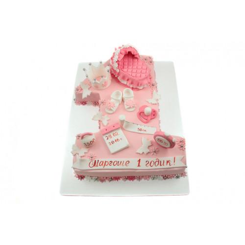 Детский торт для девочки в виде цифры один