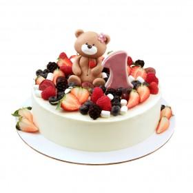 Торт с мишкой на один годик