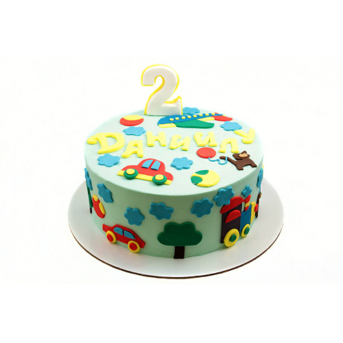 Детский торт мальчику на 2 года с машинками