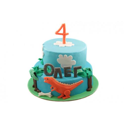 Детский двухъярусный торт с динозавриком