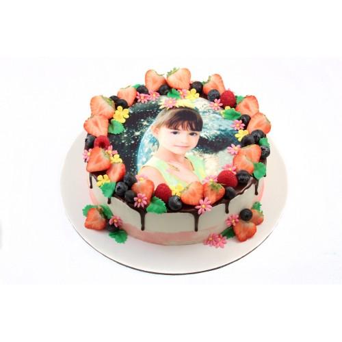 Торт для девочки с фотопечатью