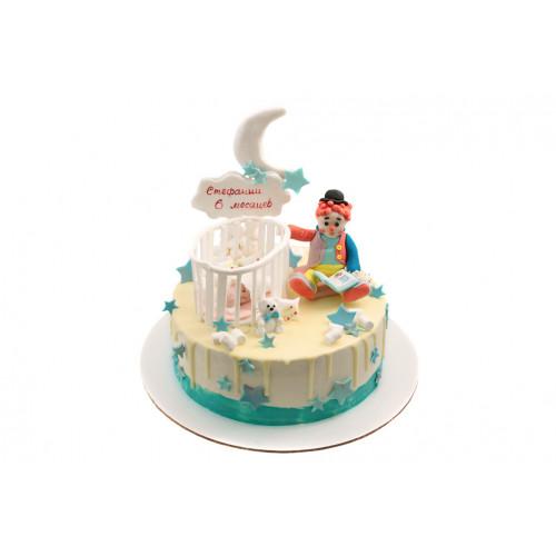 Детский торт с клоуном без мастики