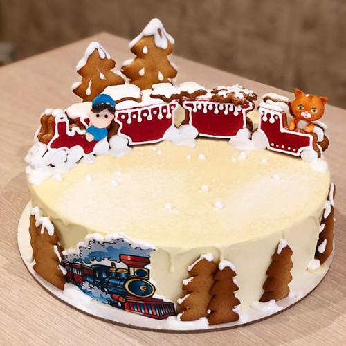 Торт с пряничным паровозиком