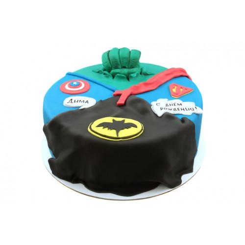 Торт с эмблемами супергероев