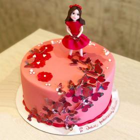 Торт с бабочками для девочки