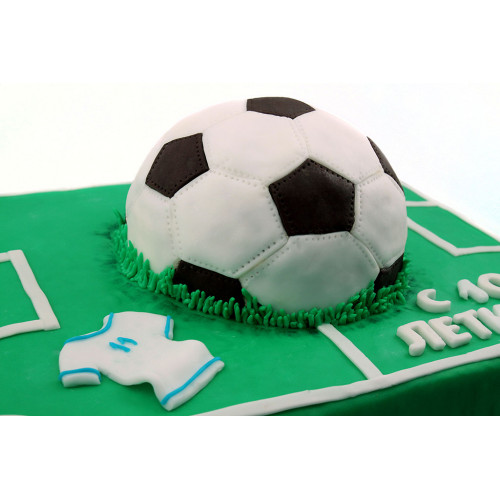Детский торт футбольное поле с мячом