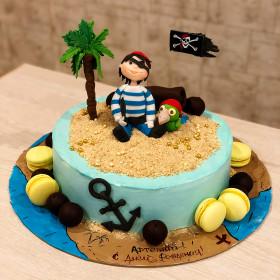 Торт с пиратом под пальмой