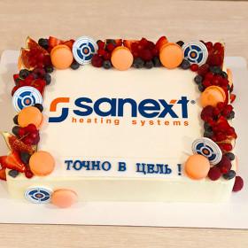 Корпоративный торт с макаронс и ягодами