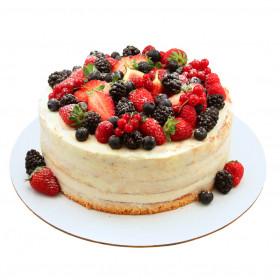 Открытый торт с ежевикой
