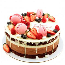 Открытый торт три шоколада