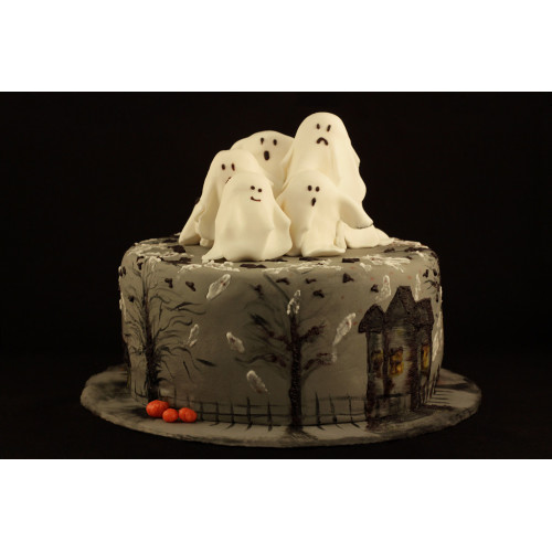 Торт с художественной росписью на Хеллоуин