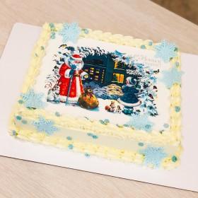 Торт на Новый год с фотопечатью