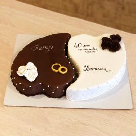 Торт Сердца на юбилей свадьбы