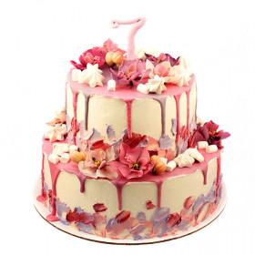 Торт с розовыми орхидеями