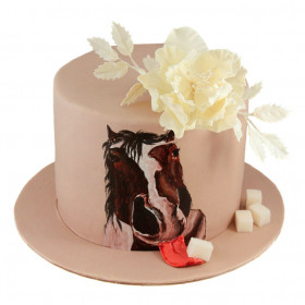 Торт с цветами и рисунком лошади