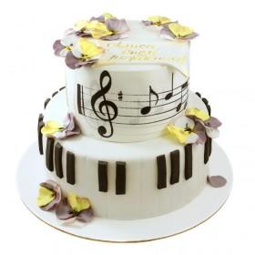 Торт с нотами и цветами