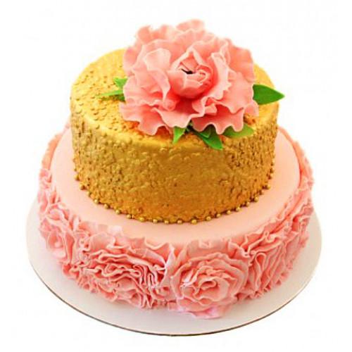 Торт с розовым пионом