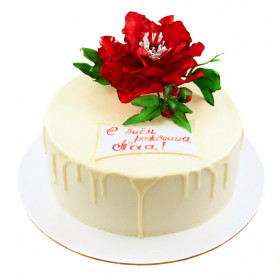 Торт с Пионом из мастики
