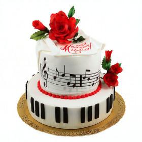 Торт с розами и нотами