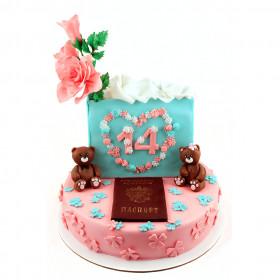 Торт с цветами на 14 лет