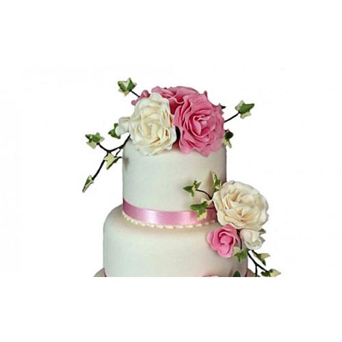 Свадебный многоярусный торт с розами